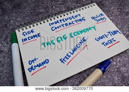 The Gig Economy Text With Keywords On A Book. Chart Or Mechanism Concept.