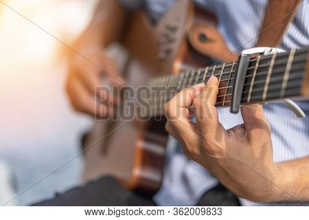 Electric Guitar Player Or Guitarlist Playing Live Music Show Or Rehearsal For Stag Performance Or Co