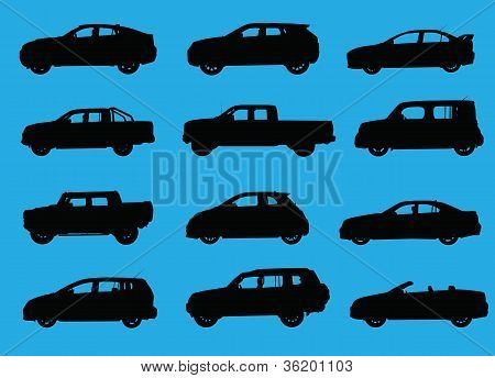Various city cars silhouettes