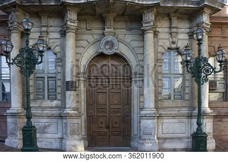 Perugia, Italy - December 10 2016: Entrance Door Of The  Italian University For Foreigners In Perugi