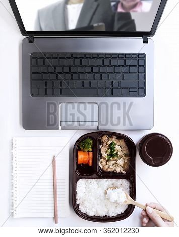 Woman Working From Home On Laptop And Making Online Order Food Form Restaurant Which Have Delivery S