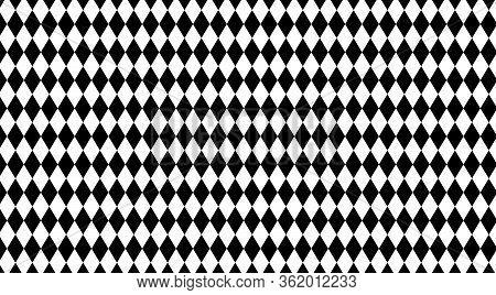Rhombus Black White Pattern For Background, Geometric Diamond Pattern For Backdrop, Rhombus Black On