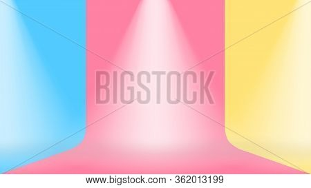 Empty Room Wall Blue Pink And Yellow Pastel Colors Background, Studio Stage Floor Pastel Color Soft
