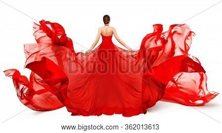 Woman Back Rear View In Red Flying Dress Fluttering On Wind, Girl In Blowing Waving Gown Clothes On