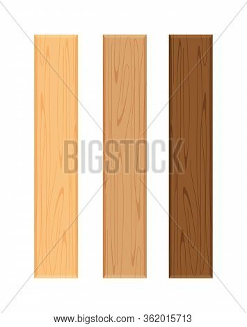 Wood Board Isolated On White Background, Vertical Plank, Planks Wood Brown Various Types Horizontal,