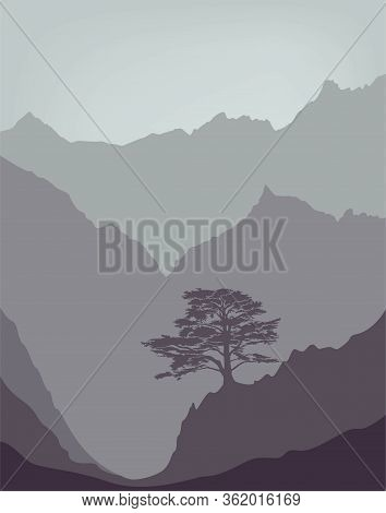 Mountains Landscape With Lebanese Cedar Tree. Flat Vector Landscape Background In Minimalist Style