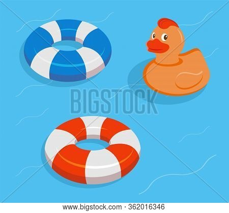 Lifebuoy Set Isolated. Isometric Lifebuoy. Stripped Lifebuoy. Vector