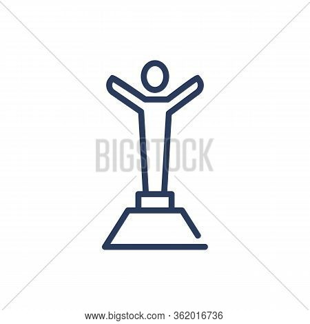 Personal Award Thin Line Icon. Person Silhouette, Podium, Prize, Honor Isolated Outline Sign. Triump