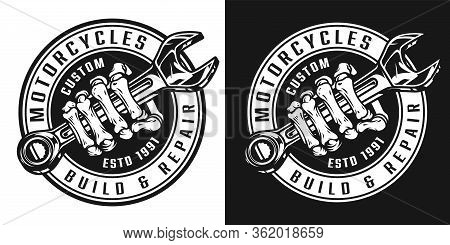 Vintage Custom Motorcycle Round Badge With Skeleton Hand Holding Wrench In Monochrome Style Isolated