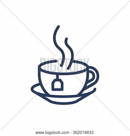 Cup Of Hot Tea Thin Line Icon. Teabag, Steam, Saucer, Porcelain Isolated Outline Sign. Breakfast Dri