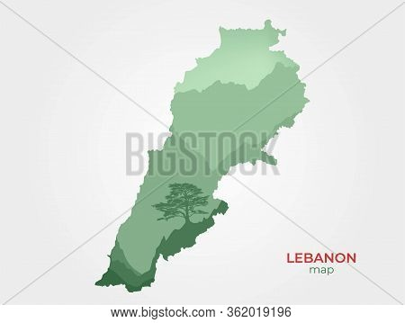 Double Exposition Lebanon Map. Lebanon Symbol Image With Mountains Landscape And Cedar Tree