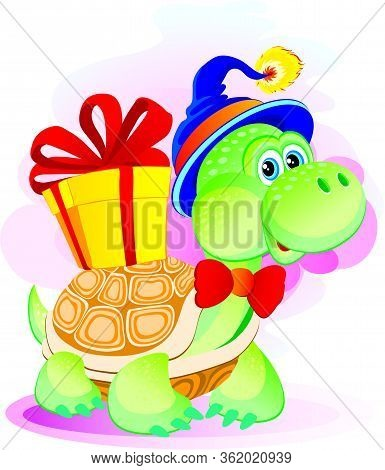 Cute Turtle Character In A Blue Hat Holds A Box With A Gift On His Carapace, Isolated Object On A Wh