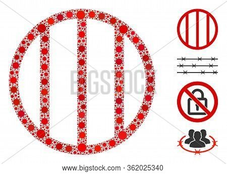 Mosaic Jail Grid Designed From Flu Virus Icons In Various Sizes And Color Hues. Vector Pathogen Icon