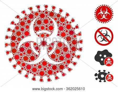 Collage Virus Hazard Composed Of Covid-2019 Virus Icons In Different Sizes And Color Hues. Vector Vi