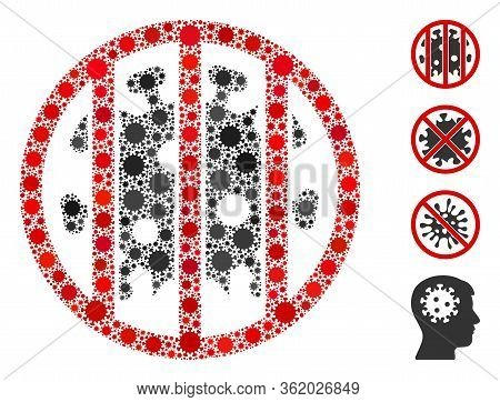 Mosaic Coronavirus Jail Constructed From Flu Virus Icons In Random Sizes And Color Hues. Vector Path