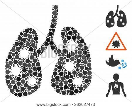 Collage Viral Pneumonia Icon Designed From Circle Items In Different Sizes, Positions And Proportion