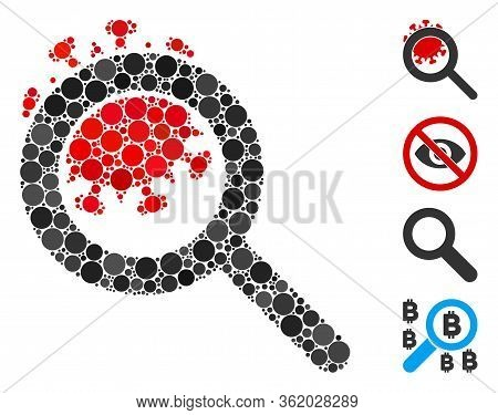 Collage Explore Coronavirus Icon Designed From Round Items In Various Sizes, Positions And Proportio