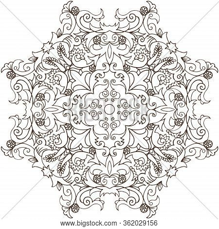 Abstract Round Linen Vector Pattern.