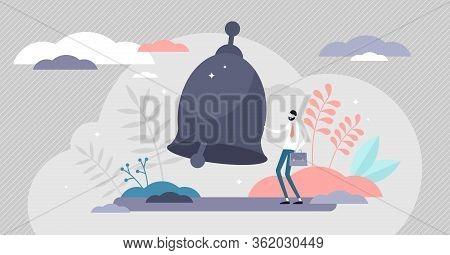 Alert Bell Ringing Vector Illustration. Warning Symbol Flat Tiny Person Concept. Danger Situation Si
