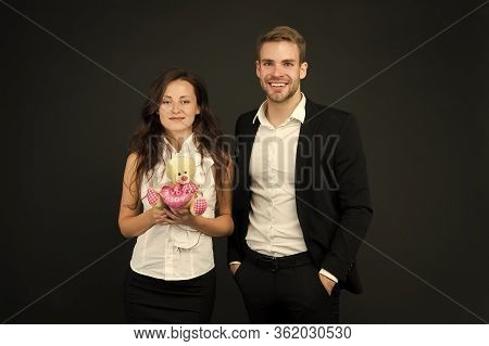 Couple In Love Celebrate Valentines Day. Love And Romance. Gift With Love. Couple On Romantic Date.