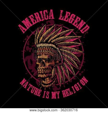 Skull Indian America Legend For Your Company Or Brand