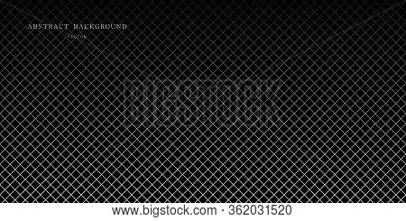 Diagonal Checkered Pattern Of Fine Lines. Black And White Vector Illustration. Abstract Geometric Mo
