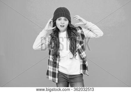 Modern Fashion. How Cool Am I. Kids Fashion. Girl Cute Child Wear Knitted Hat. Little Girl Wearing W