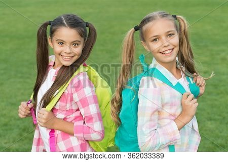 Fun And Interactive Activities For Kids. Happy Kids Back To School. Small Kids Carry Backpacks. Beau