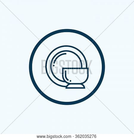 Dishes Icon. Thin Linear Dishes Outline Icon Isolated On White Background From Kitchen Collection. L