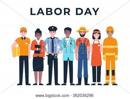 International Labor Day. Set People Characters Actual Important Professions Covid 19. Coronavirus Pa