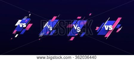 Set Of Versus Logo Vs Letters For Sports And Fight Competition. Battle, Vs Match, Game Concept Compe