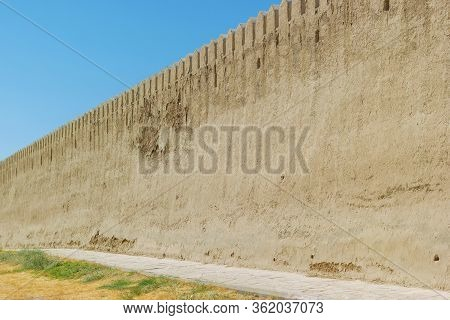 Ancient Medieval Big Protective Reinforcement Wall With Adobe Clay Material. Near East Or Central As