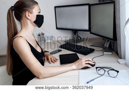 Covid-19 Pandemic Coronavirus Mask Woman Home Working Isolation Laptop Computer Auto Quarantine. Gir