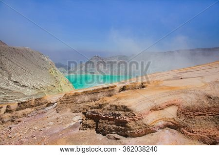 Aerial Photo Of Active Volcano Ijen In East Java - Largest Highly Acidic Crater Lake In World With T