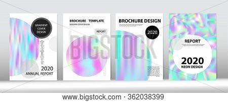 Holographic Gradient Vector Background. Pearlescent Gradient Overlay Holograph Unfocused Cover.  Rai