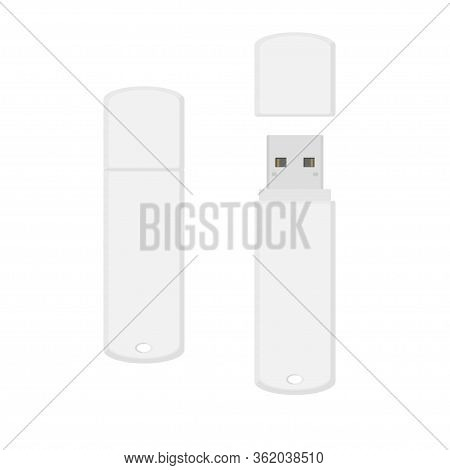 White Rounded Usb Flash Drive Opened And Closed. Vector Illustration Isolated On White Background