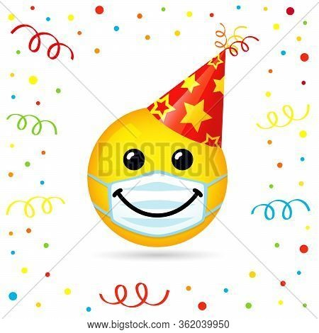 Smile Face In Medical Mask And Red Party Hat. Yellow Smiling Emoticon Wearing White Surgical Mask On