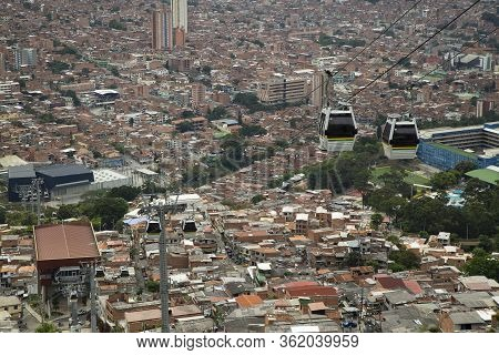 Medellín, Antioquia / Colombia - December 3, 2019. The Metrocable Line M Is A Complementary Work To