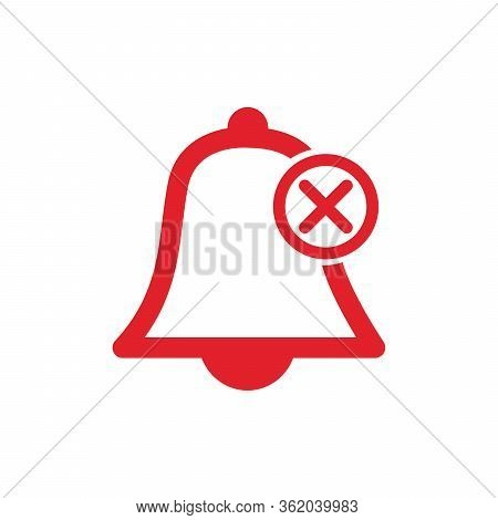 No Alarm Silent Bell Icon Illustration Woth Cross. Mobile Phone App Muted Sound And Notifications. S