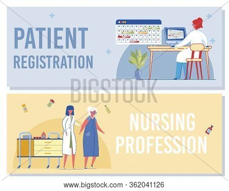Patient Registration, Nursing Profession Banner. Woman Receptionist Register Medical Form Record On