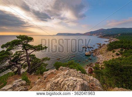 Landscapes Of Russia, Beautiful Sea Bay Laspi In Crimea On A Sunny Day