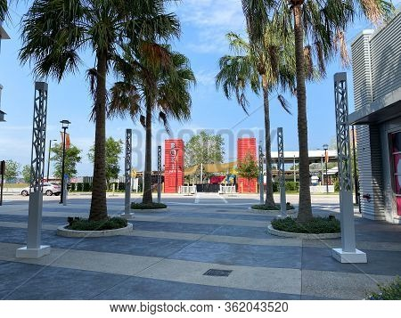 Orlando, Fl/usa-4/10/20:  The Exterior Of Boxi Park A Group Of Repurposed Shipping Containers That A