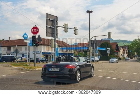 Rastatt Germany - Jul 7, 2019: View From The Car At The Convertible Audi Tt Tfsi Cabrio Convertible