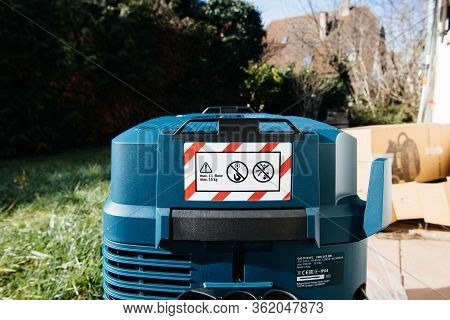 Strasbourg, France - Feb 9, 2020: Warning With 1 L-boxx And Maxim 15 Kg Load On Top Of New Bosch Gas