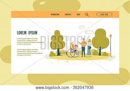 Website Page, Relationship With Older People. Young Family Took Their Elderly Father In Wheelchair F