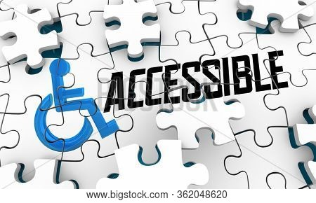 Accessible Disabled Access Equal Rights Handicap Wheelchair Symbol Puzzle Solution 3d Illustration