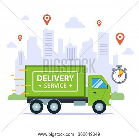 Fast Delivery By Truck, Against The Backdrop Of The City. Pinpoint Time. Flat Vector Illustration