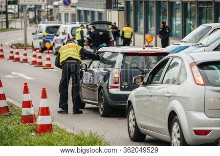 Kehl, Germany - Mar 16, 2020: Polizei Officer Of The Federal Police Checks Uk Car At The Border Cros