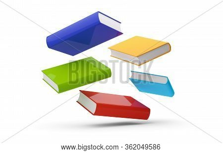 Blue, Red, Green And Yellow Hardcover Books Flying Over White Background - 3d Illustration