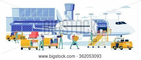 Baggage Loading In Special Aircraft Compartment. Man In Overall Carry Suitcase From Tractor To Deliv